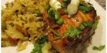 Asian Style Baked Salmon with Spanish vegetable rice
