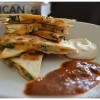 Around the World #2: Vegetable Quesadillas with a fiery red chili tomatillo salsa