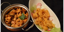 Calamari - 2 ways! : Spicy Sauteed and Chick Pea batter fried