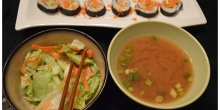 A Japanese meal on a weeknight!: Miso soup, salad with Miso Ginger dressing and Vegetable California rolls