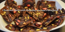 Chocolate Bark with Strawberries and Pistachios
