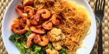 Harissa Shrimp and 'Noodles' (Gluten free, Paleo, Whole30)